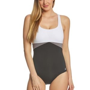 NIKE Prism Colorblocked Crossback Swimsuit--XS